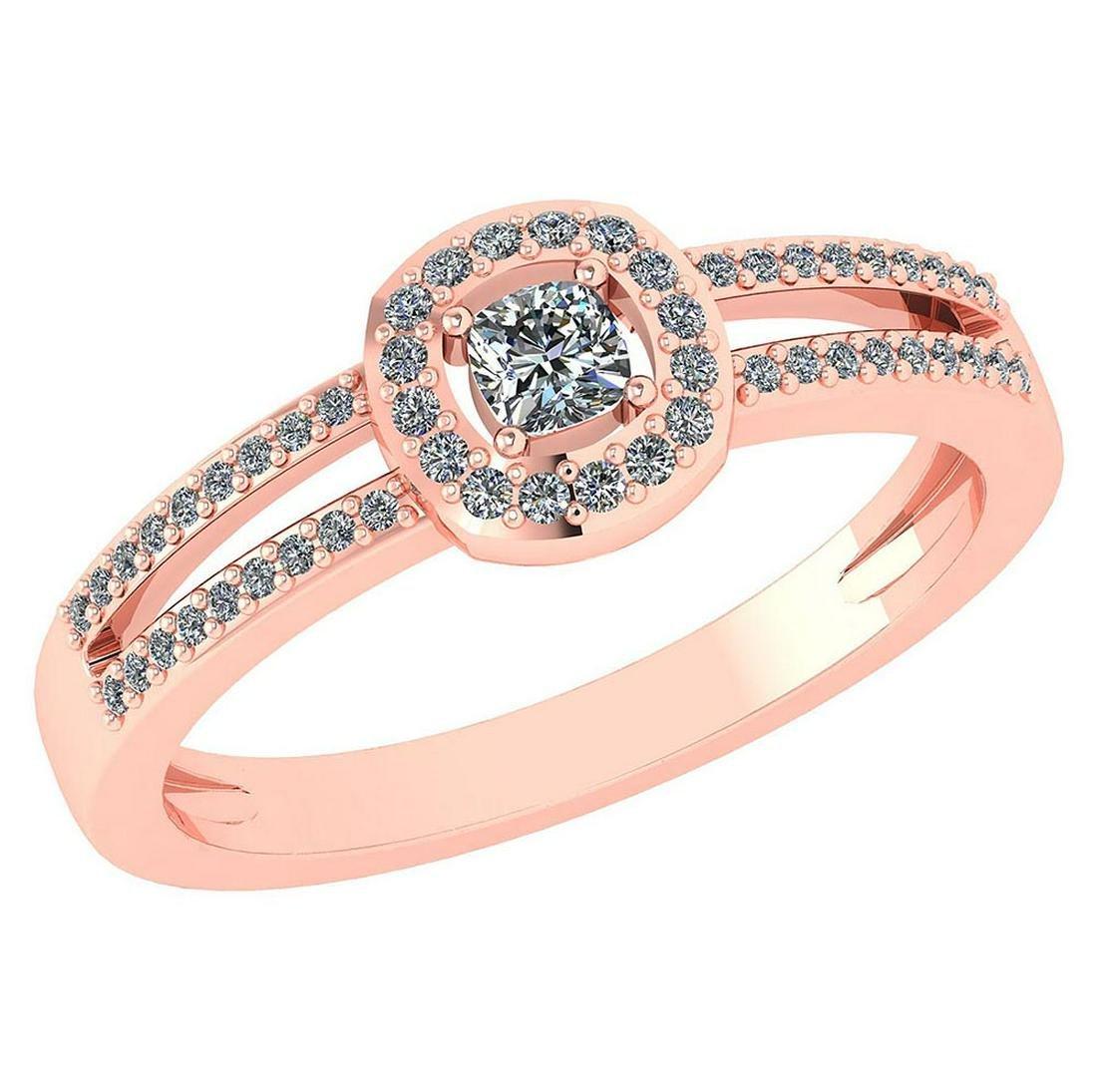0.57 Ctw Diamond 14k Rose Gold Halo Ring