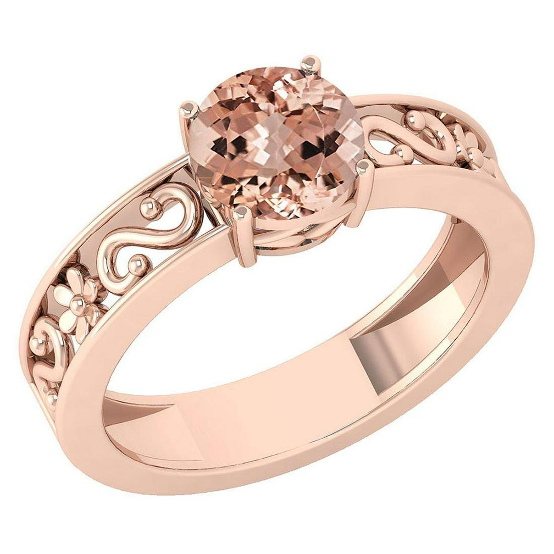 Certified 1.25 Ctw Morganite Solitaire Ring with Filigr