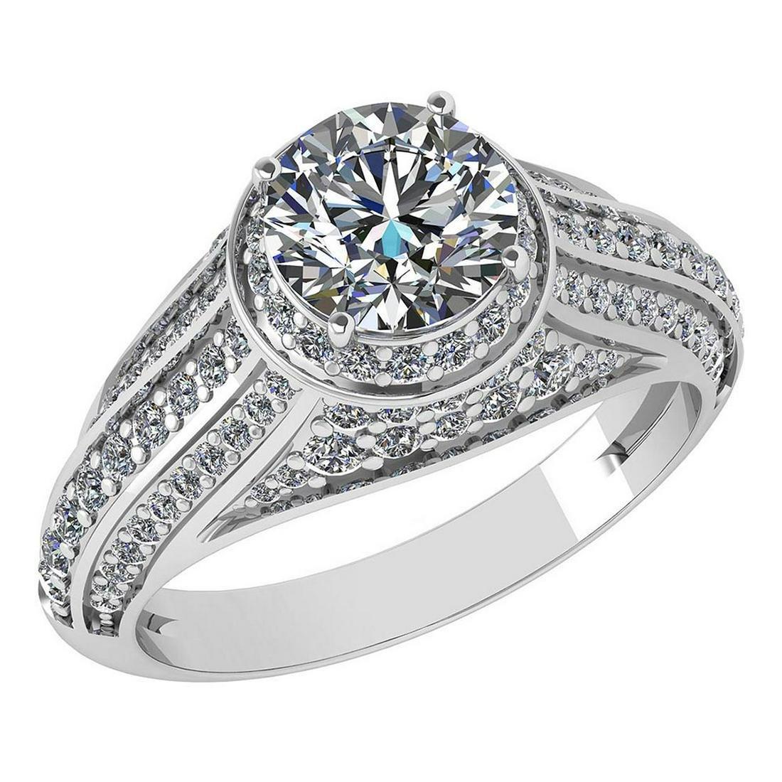 Certified 2.04 Ctw Diamond Engagement /Wedding 14K Whit