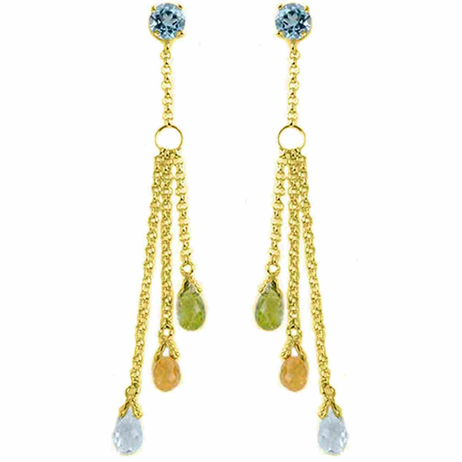 5.75 CTW 14K Solid Gold Chandelier Earrings Blue Topaz