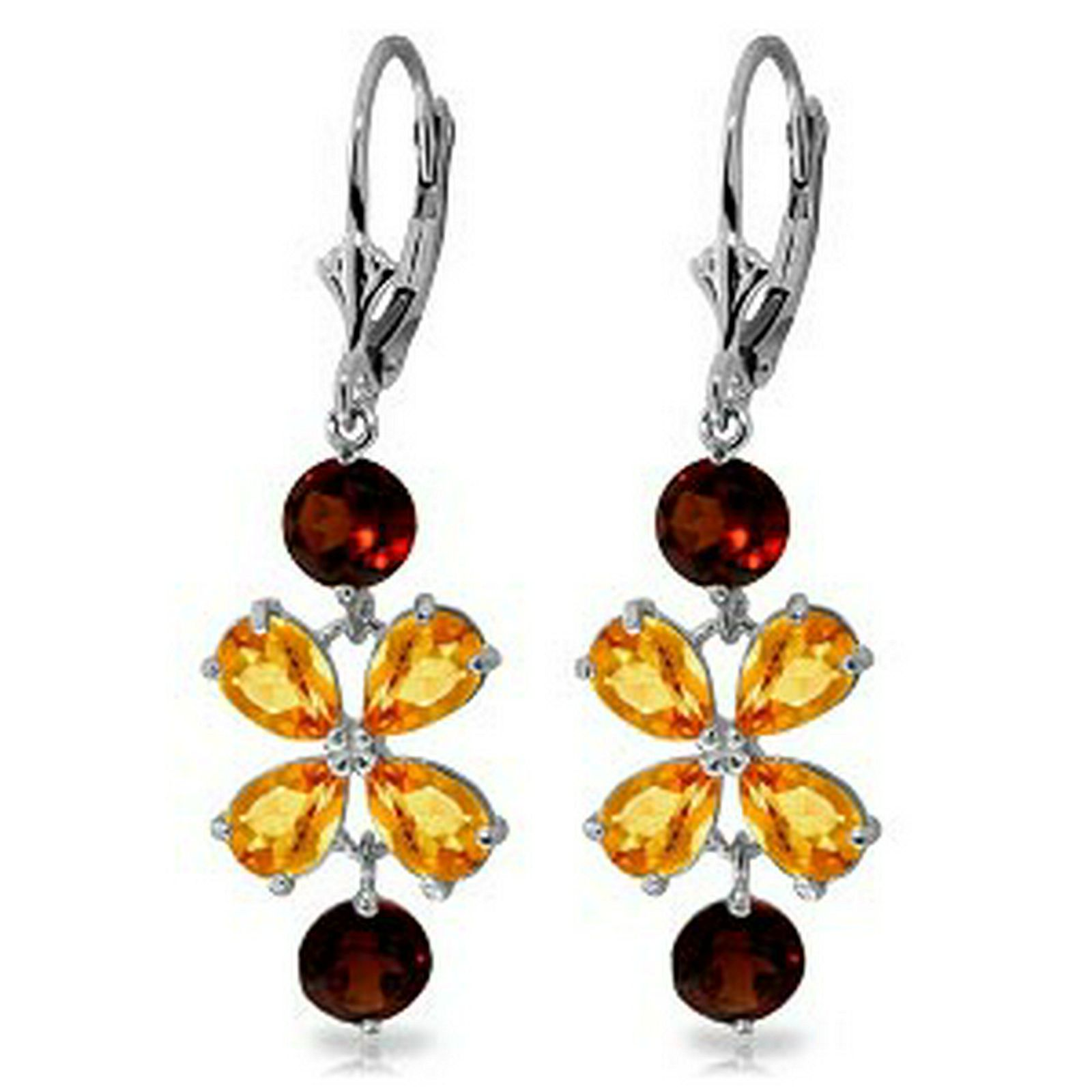5.32 CTW 14K Solid White Gold Chandelier Earrings Citri