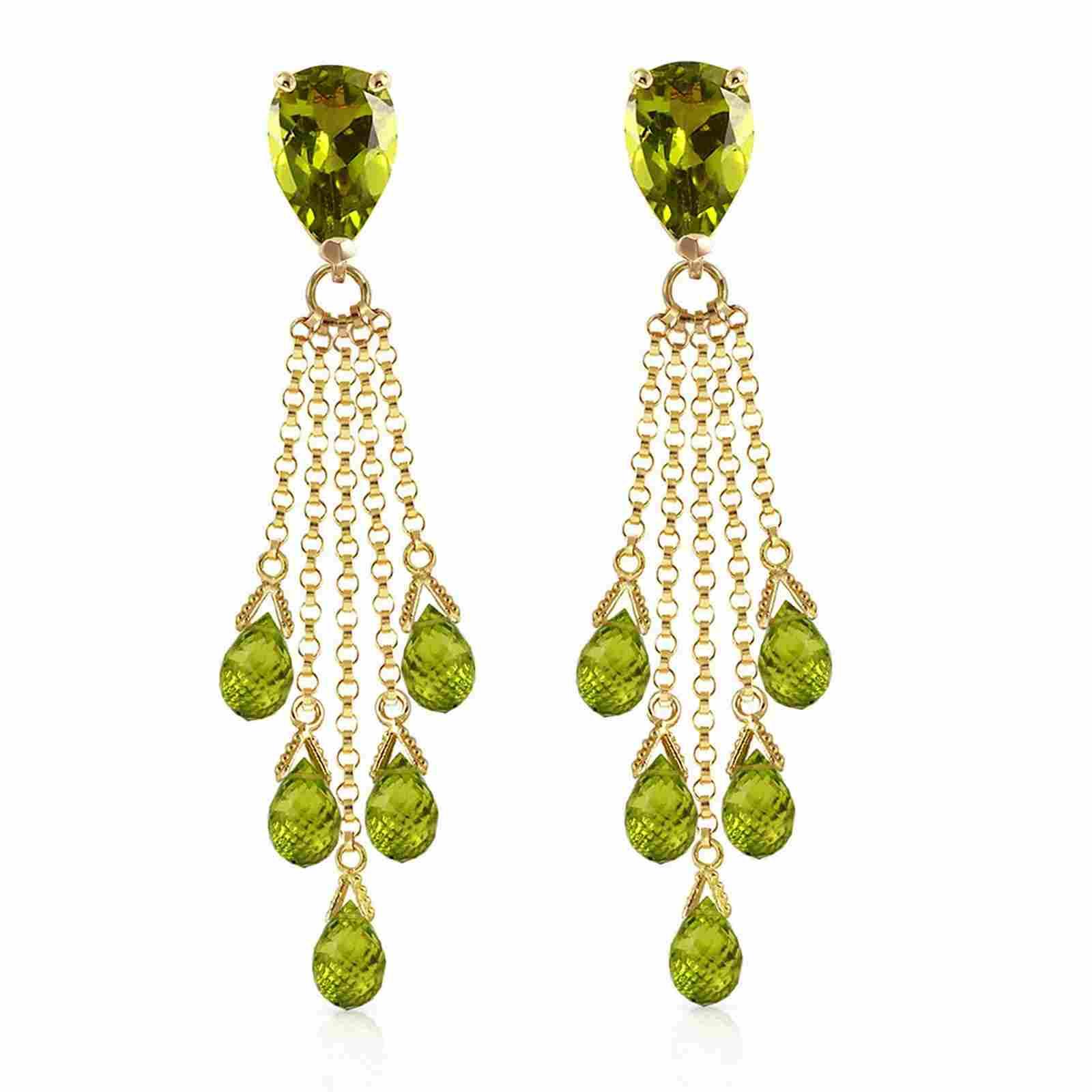 15.5 Carat 14K Solid Gold Playful Peridot Earrings