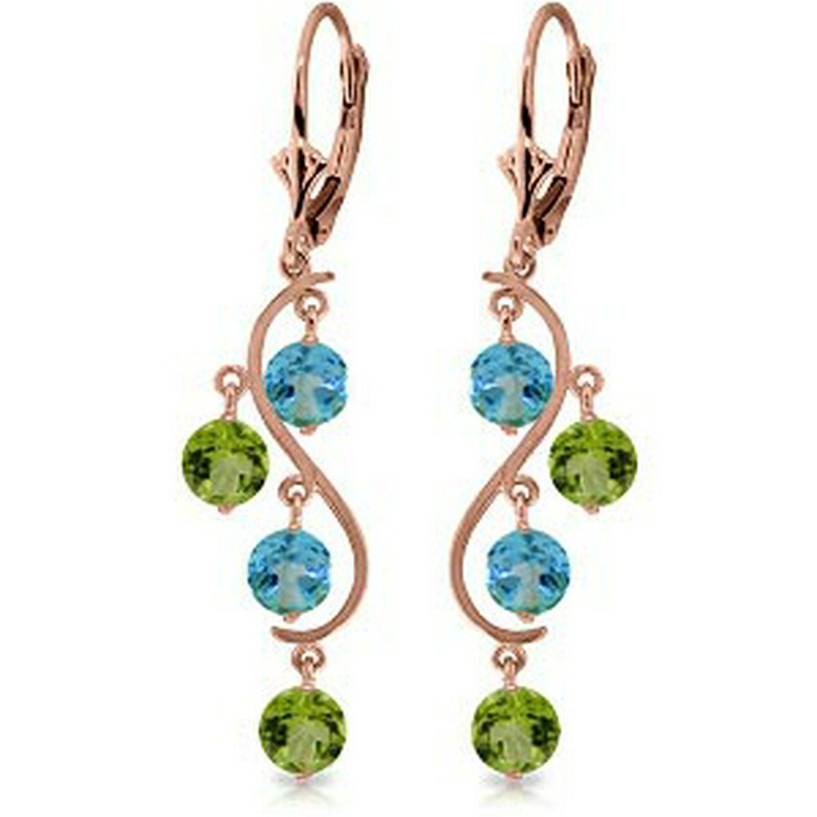 4.94 Carat 14K Solid Rose Gold Chandelier Earrings Blue