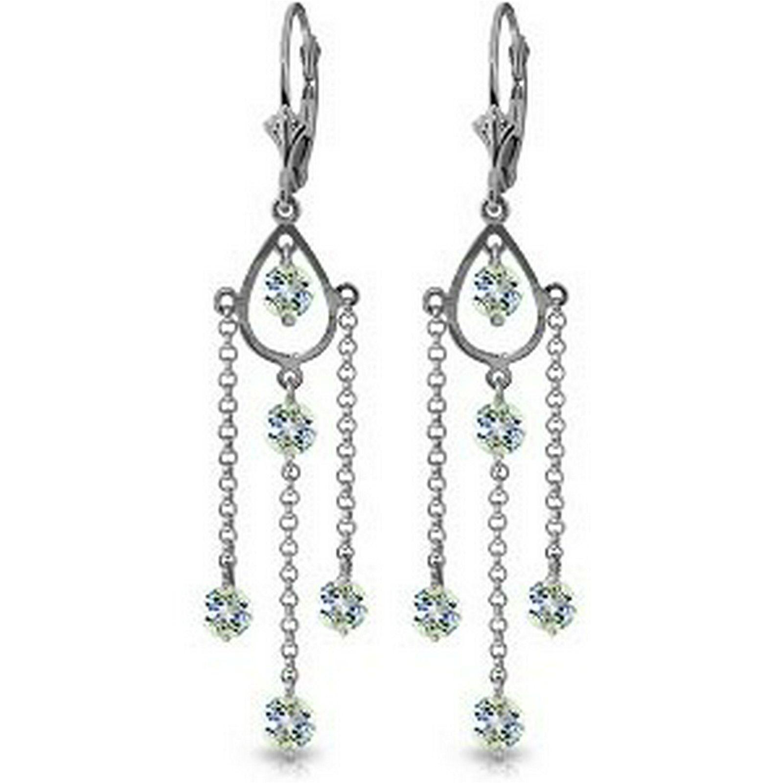 3 Carat 14K Solid White Gold Chandelier Earrings Natura