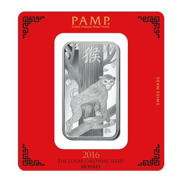 PAMP Suisse Silver Bar 100 Gram - 2016 Monkey Design