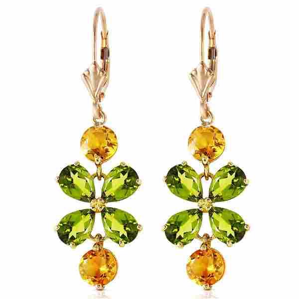 532 CTW 14K Solid Gold Chandelier Earrings Peridot Cit