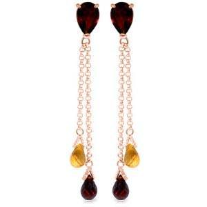 7.5 Carat 14K Solid Rose Gold Chandelier Earrings Garne