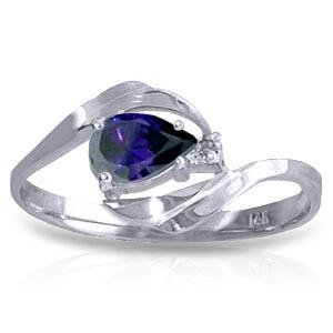 0.51 CTW 14K Solid White Gold Shower Music Sapphire Dia