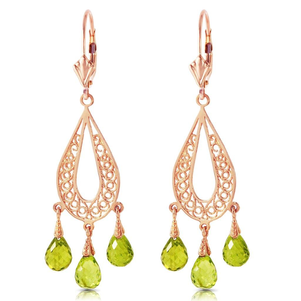3.75 Carat 14K Solid Rose Gold Chandelier Earrings Natu