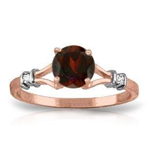 1.07 CTW 14K Solid Rose Gold Cathy Garnet Diamond Ring