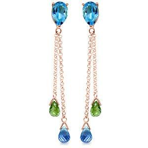 7.5 CTW 14K Solid Rose Gold Chandelier Earrings Blue To