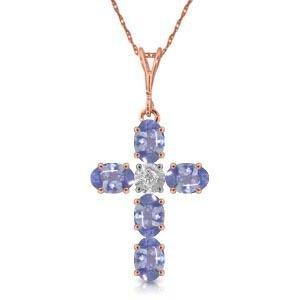 1.75 Carat 14K Solid Rose Gold Cross Necklace Natural D