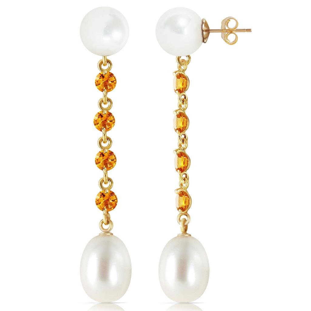 11 Carat 14K Solid Gold pearly View Citrine pearl Earri