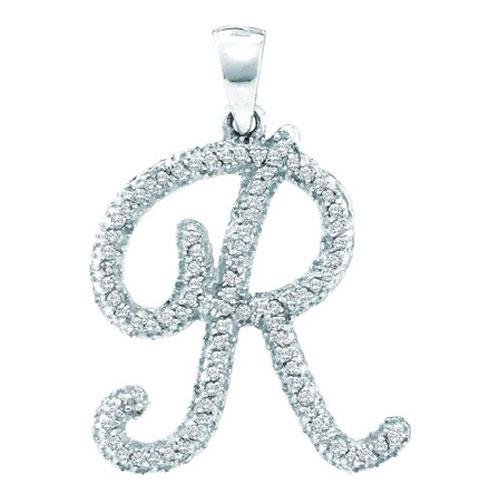 10KT White Gold 0.22CT DIAMOND INITIAL-R PENDANT