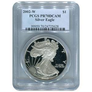 Certified Proof Silver Eagle 2002-W PR70DCAM PCGS