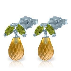 3.4 Carat 14K Solid White Gold Stud Earrings Peridot Ci