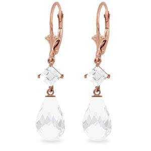 14K Solid Rose Gold Leverback Earrings with White Topaz