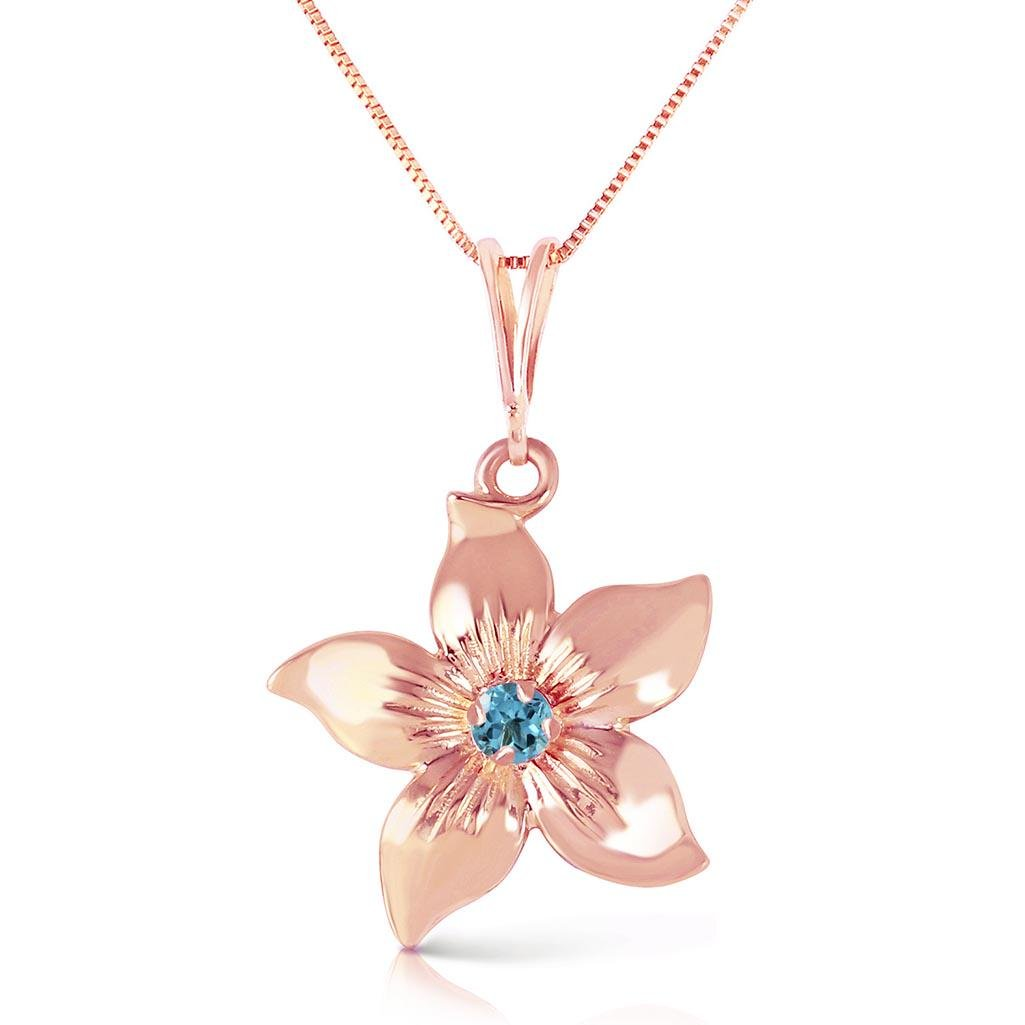 14K Solid Rose Gold Flower Necklace with Natural Blue T