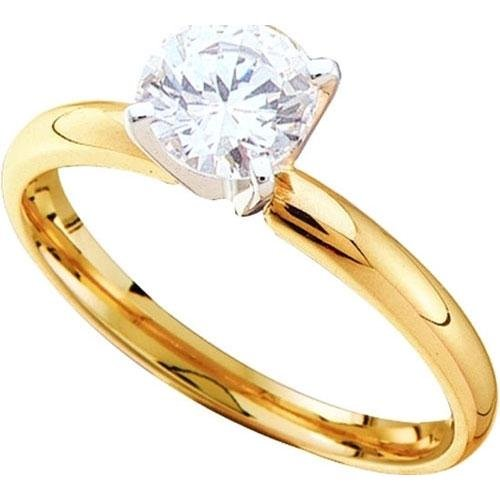 14KT Yellow Gold Two Tone 0.75CTW ROUND DIAMOND SOLITAI