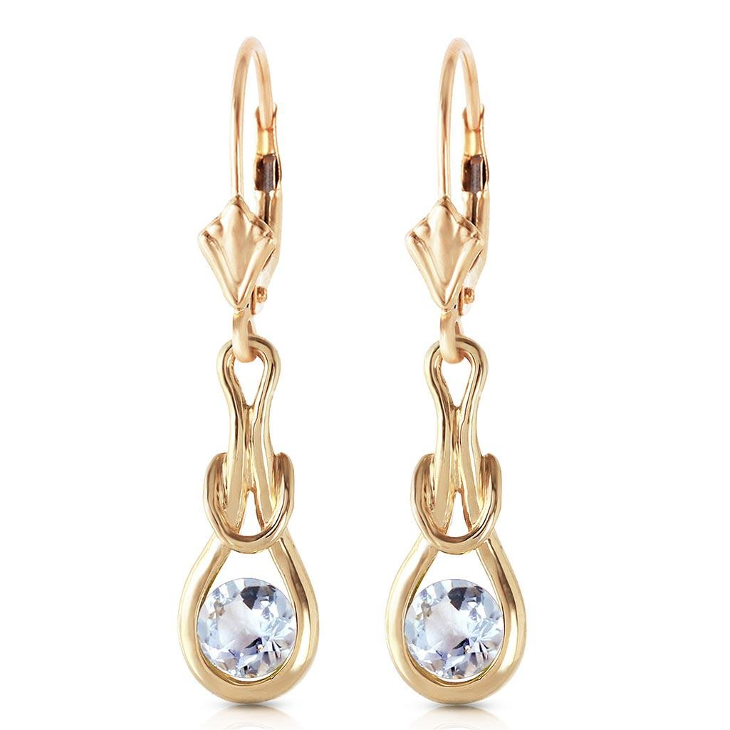 1.3 Carat 14K Solid Gold Leverback Earrings Natural Aqu