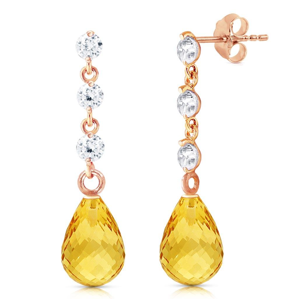 14K Solid Rose Gold Earrings withDiamonds & Citrines