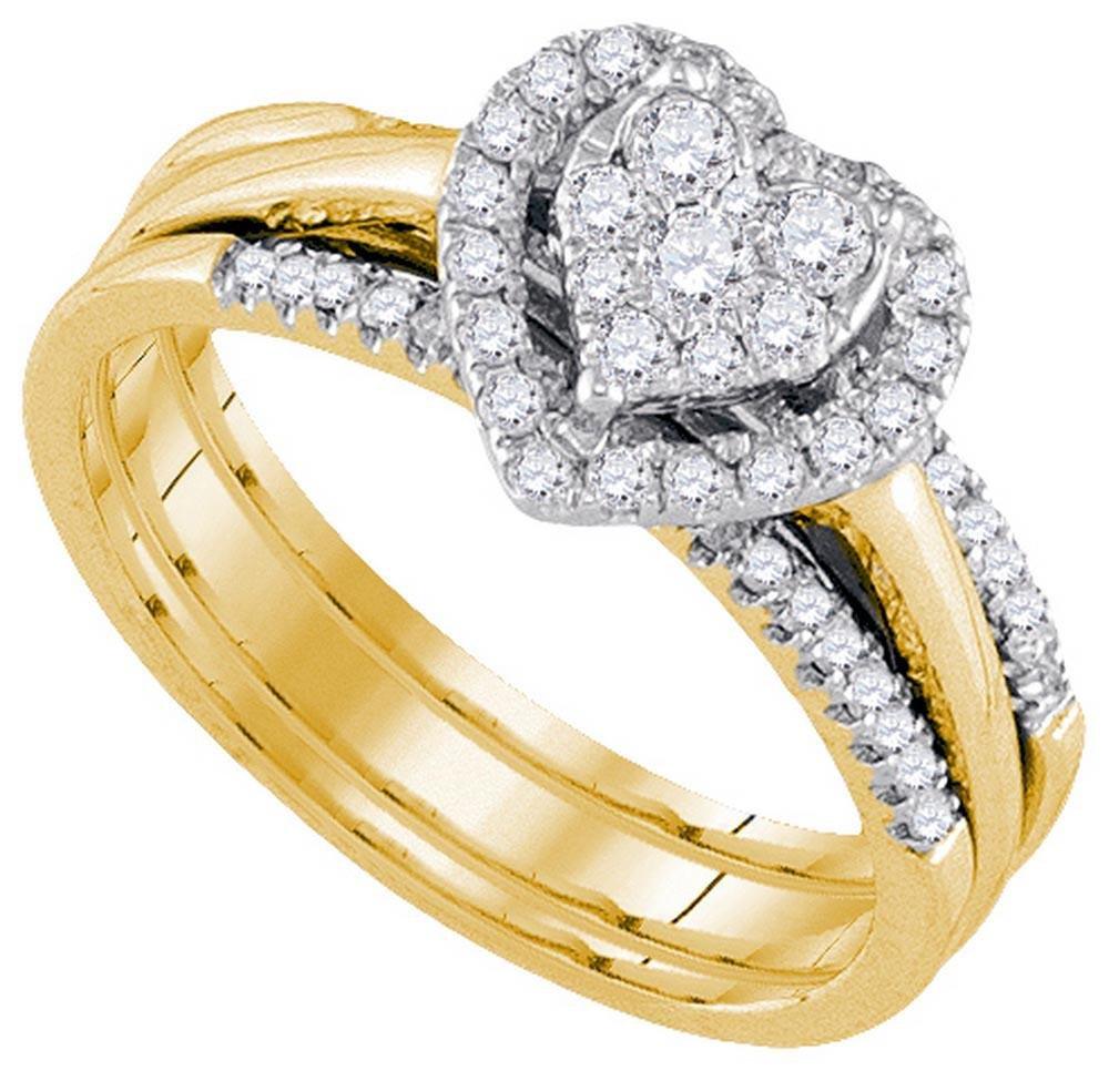 10k Yellow Gold Womens Natural Round Diamond Amour Hear