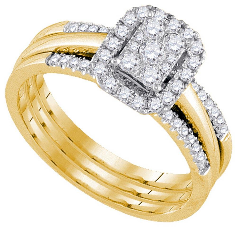 14k Yellow Gold Womens Natural Round Diamond Amour Halo