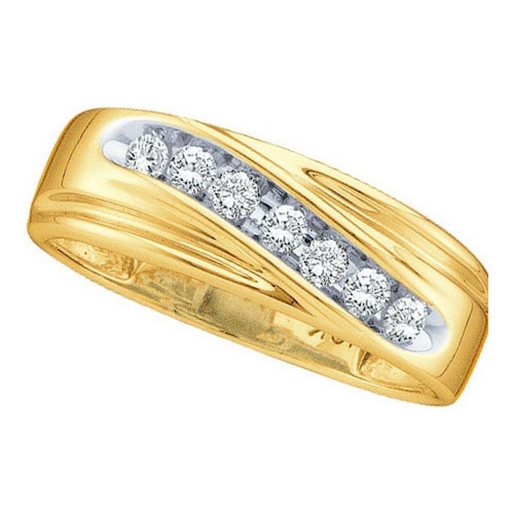 14k Yellow Gold Round Channel-set Natural Diamond 8-13