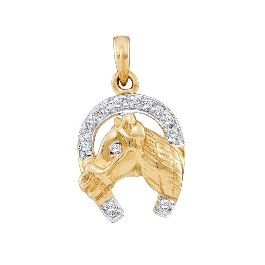14k Yellow Gold Round Natural Diamond Womens Horseshoe