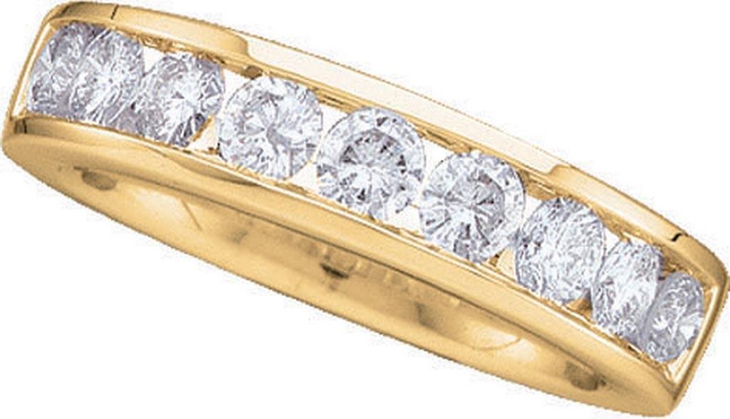 14k White Gold Round Channel-set Natural Diamond Womens