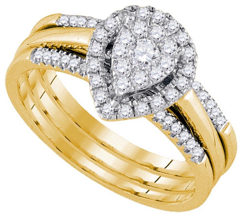 14k Yellow Gold Womens Natural Amour Round Diamond Brid