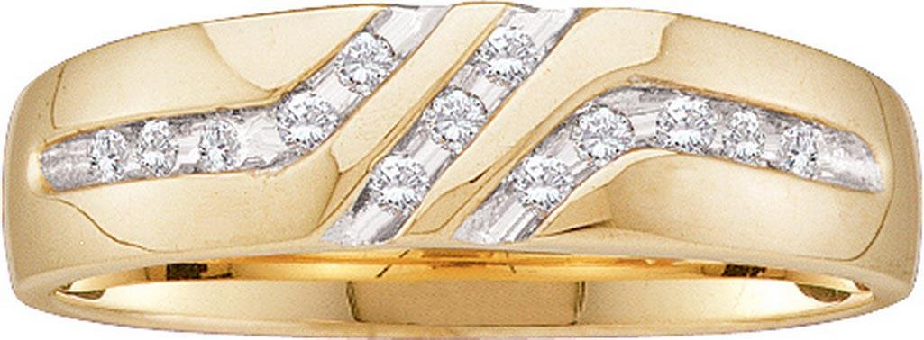 10k Yellow Gold Round Natural Channel-set Diamond Mens