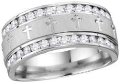 14k White Gold Mens Natural Round Diamond Grecco Christ