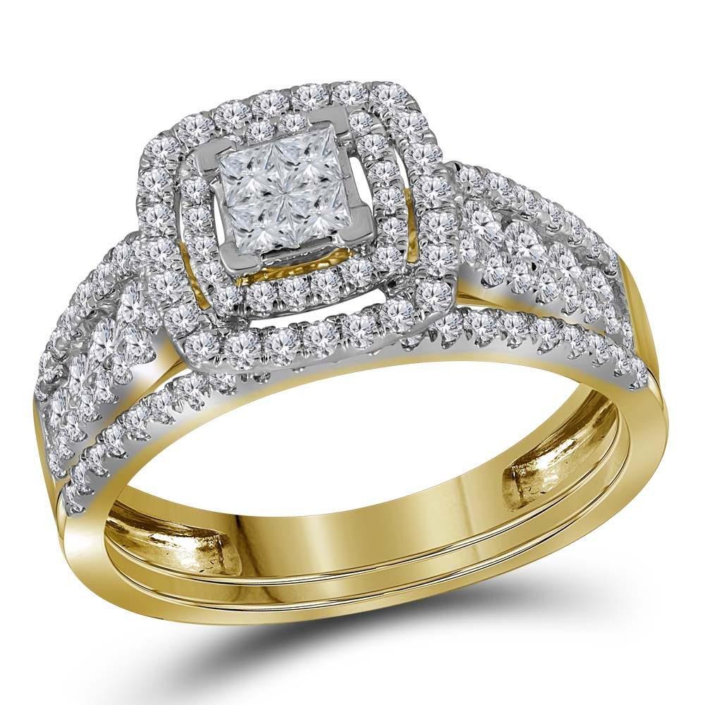 14kt Yellow Gold Womens Princess Diamond Cluster Halo B