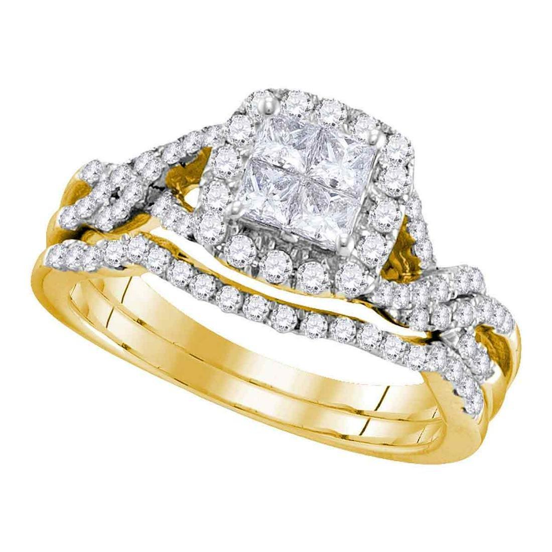 14kt Yellow Gold Womens Princess Diamond Twist Bridal W