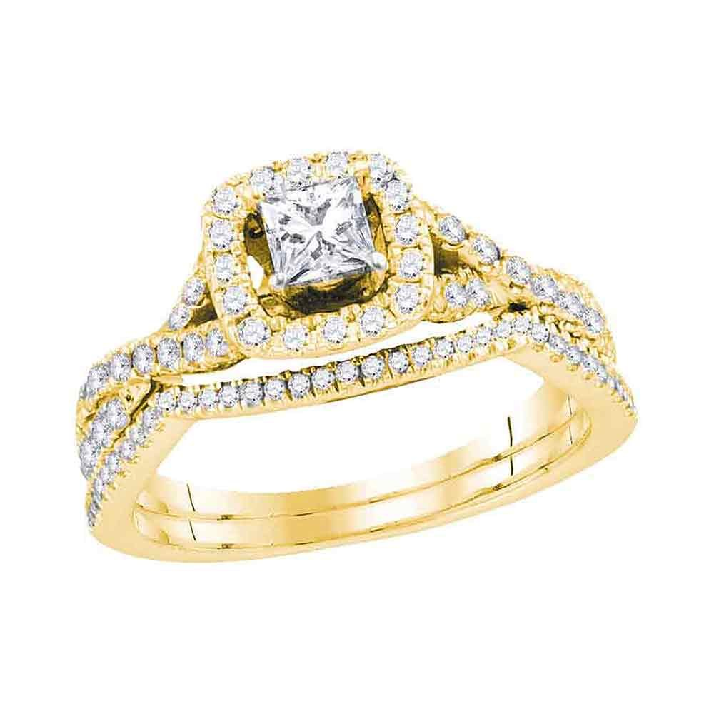 14kt Yellow Gold Womens Princess Diamond Twist Bridal W