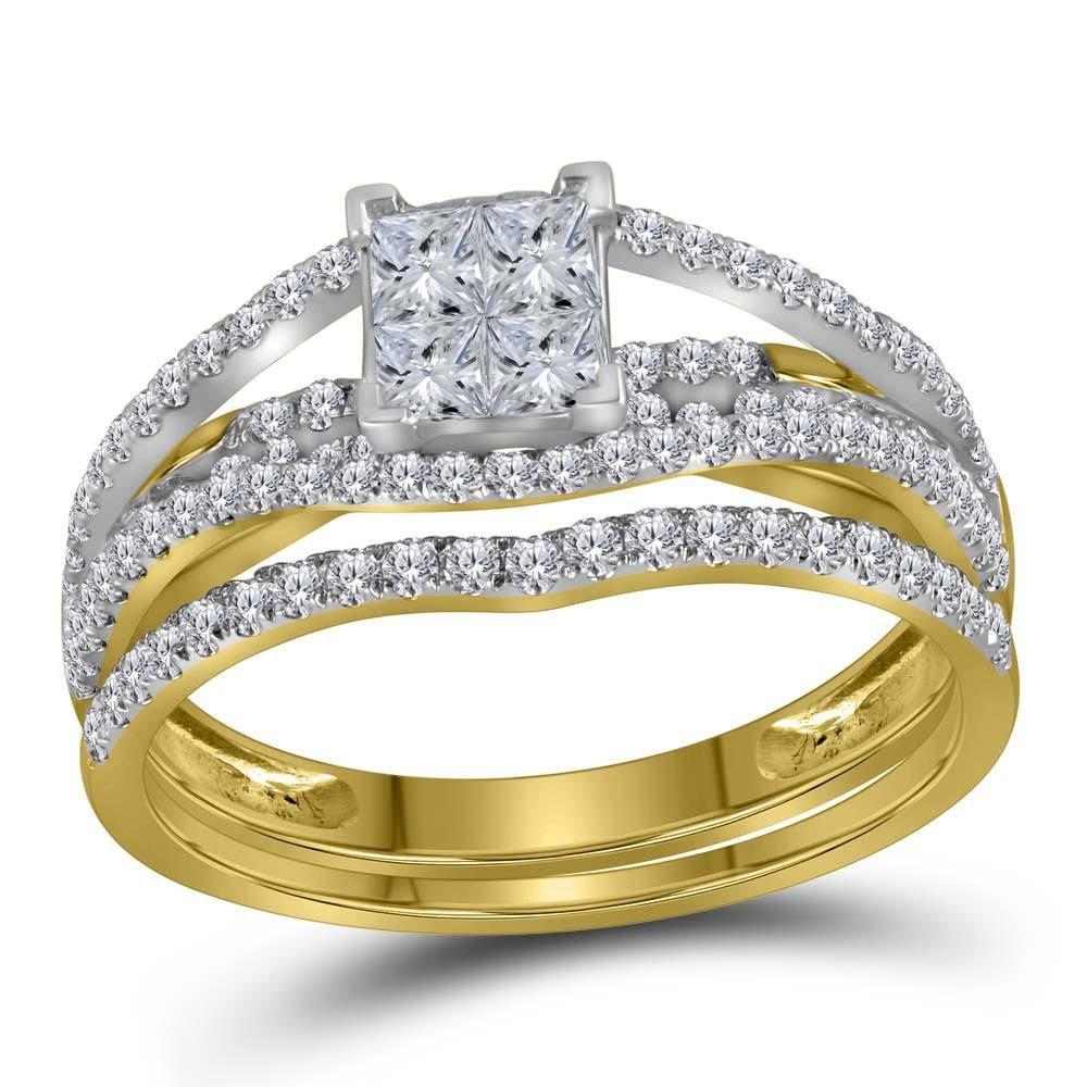 10kt Yellow Gold Womens Princess Diamond Elevated Brida