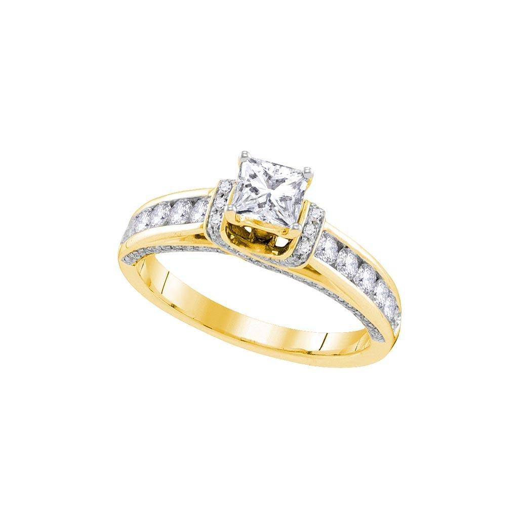 14kt Yellow Gold Womens Princess Diamond Solitaire Brid