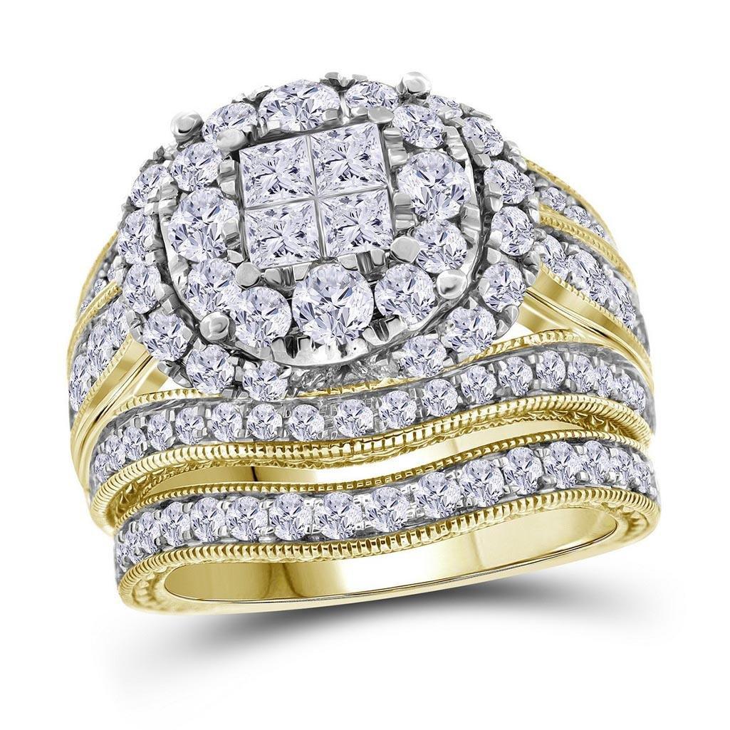 14kt Yellow Gold Womens Princess Round Diamond Soleil B
