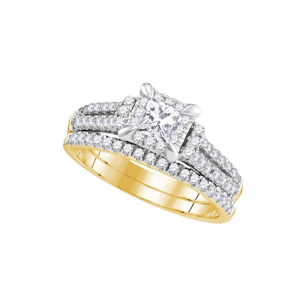 14kt Yellow Gold Womens Princess Diamond Halo Bridal We