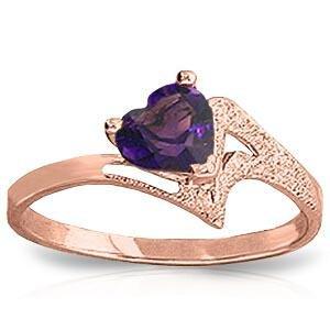 0.75 Carat 14K Solid Rose Gold Ring Natural Purple Amet