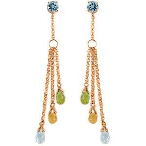 14K Solid Rose Gold Chandelier Earrings with Blue Topaz