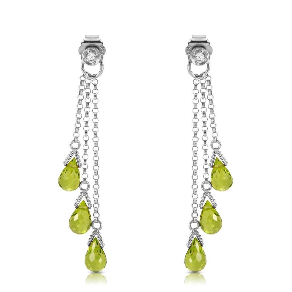 14K Solid White Gold Chandelier Earrings withDiamonds &