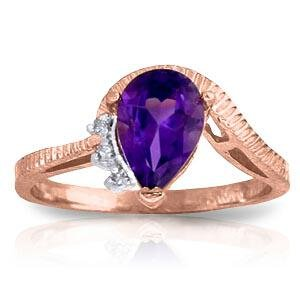 1.52 Carat 14K Solid Rose Gold Ring Diamond Purple Amet