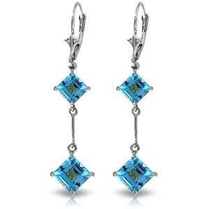 14K Solid White Gold Leverback Earrings with Blue Topaz