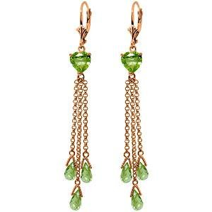 14K Solid Rose Gold Chandelier Earrings with Briolette