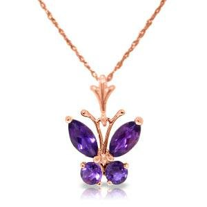 0.6 Carat 14K Solid Rose Gold Butterfly Necklace Purple