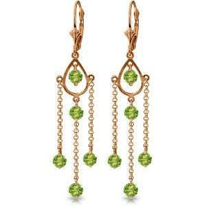 14K Solid Rose Gold Chandelier Earrings with Natural Pe