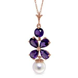 14K Solid Rose Gold Necklace with Purple Amethyst & pea