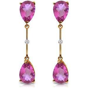 14K Solid Rose Gold Diamonds & Pink Topaz Dangling Earr
